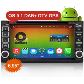 "Goobazaar ES4603C 6.95"" 4-Core Android 5.1 Car Multimedia DVD Player GPS Navigation DAB+ for Toyota Rav4 Corolla"