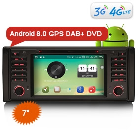 "Goobazaar ES7339B 7"" New Android 8.0 BMW E39 Car Stereo System 4G WiFi OBD DTV DAB+ GPS Nav Sat"